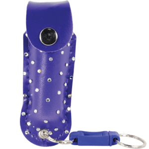 blue pepper spray bling with quick release front view