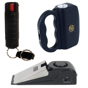 Urban Survival Kit with black quick release wildfire pepper, rechargeable flashlight talon stun gun and super door stop alarm