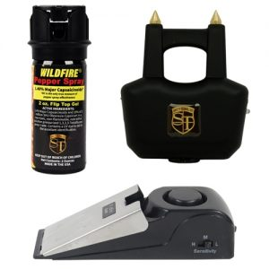 Xtreme Urban Survival Kit with 2 ounce wildfire pepper gel, black spike 20 million volt rechargeable stun gun and 125 decibel super door stop alarm